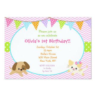 Puppy and Kitty Birthday Invitations