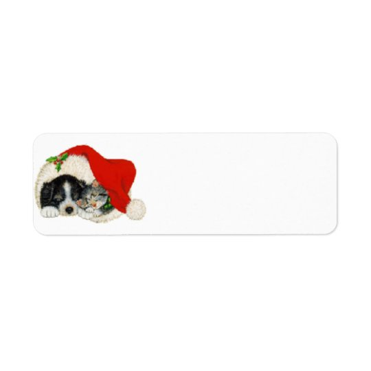 Puppy and Kitty in Santa Hat Label