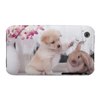 Puppy and Lop Ear Rabbit iPhone 3 Cover