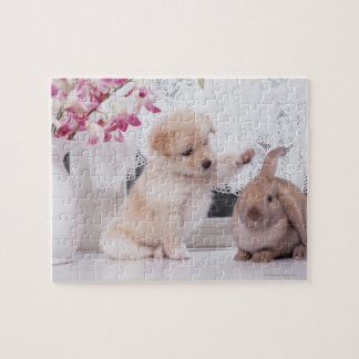 Puppy and Lop Ear Rabbit Jigsaw Puzzle