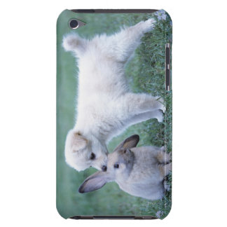 Puppy and Lop Ear Rabbit on lawn iPod Case-Mate Cases