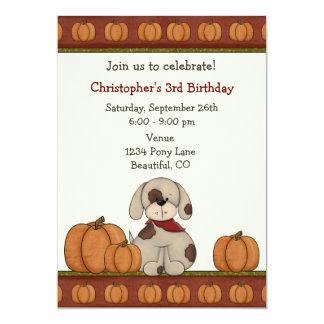 Puppy and Pumpkins Autumn Birthday Invitation