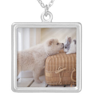 Puppy and rabbit silver plated necklace