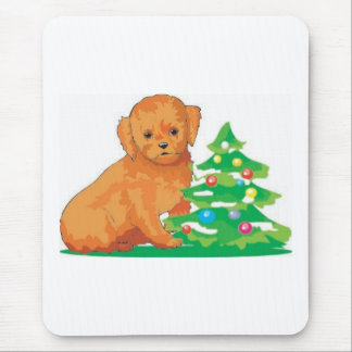 Puppy and Tree Mouse Pad
