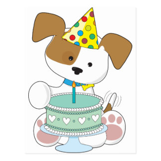 Puppy Birthday Cake Postcard