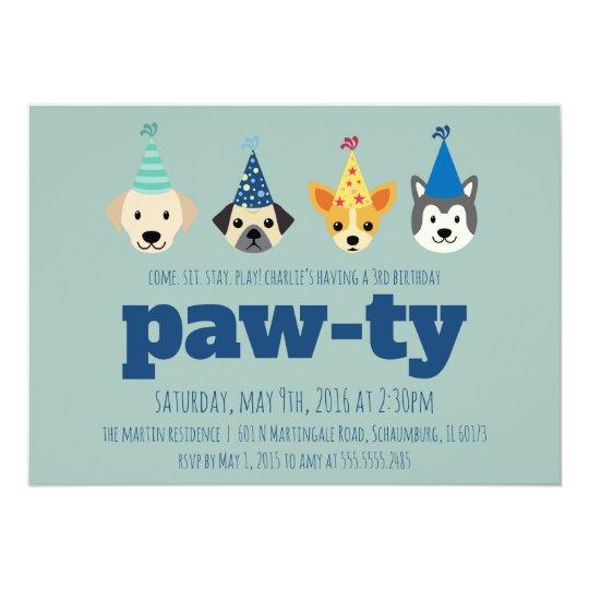 Puppy Birthday Party Invitation Dog Invite