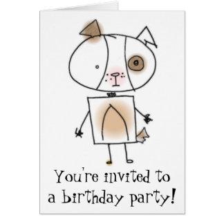 Puppy Birthday Party Invitation Note Card