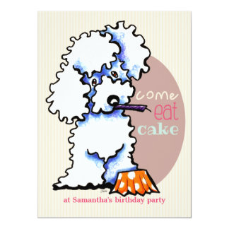 Puppy Birthday Party Poodle Girl Off-Leash Art™ 17 Cm X 22 Cm Invitation Card
