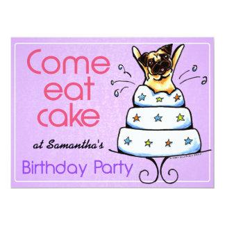 Puppy Birthday Party Pug Cake Girl Off-Leash Art™ 17 Cm X 22 Cm Invitation Card