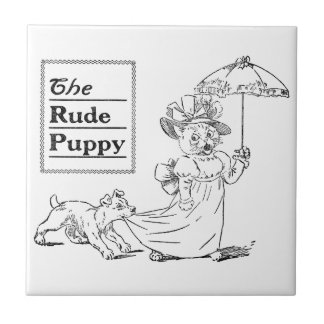 Puppy Biting Cat's Dress Small Square Tile