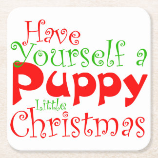 Puppy Christmas Holiday Paper Coaster