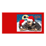 Puppy Christmas:I saw Mummy Kissing Santa Claus Personalized Photo Card