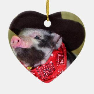 puppy Cowboy Baby Piglet Farm Animals Babies Ceramic Heart Decoration
