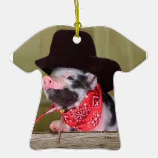 Puppy Cowboy Baby Piglet Farm Animals Babies Double-Sided T-Shirt Ceramic Christmas Ornament