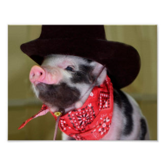 Puppy Cowboy Baby Piglet Farm Animals Babies Poster