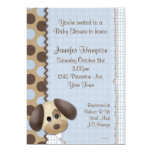 "Puppy Dog Baby Shower Invitation 5"" X 7"" Invitation Card"