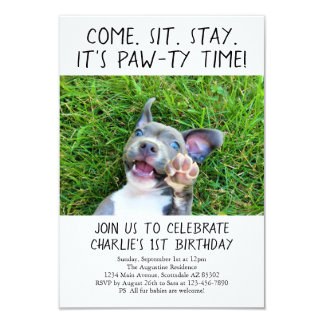 Puppy Dog Birthday Party Photo Card