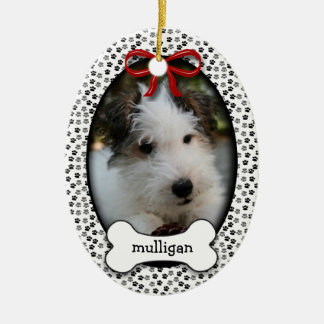 Puppy Dog Commemorative Rememberance OR Christmas Ceramic Oval Decoration