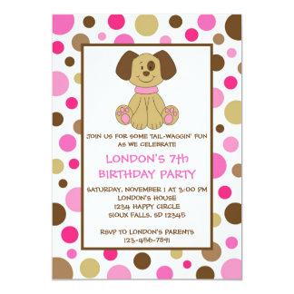 "Puppy Dog Dots Pink Birthday Invitations 5"" X 7"" Invitation Card"