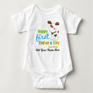 Puppy Dog Happy First Father's Day Baby Bodysuit