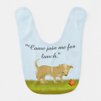Puppy Dog Invites a Butterfly to Lunch Bib