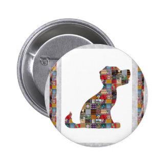 PUPPY Dog KIDS love CRYSTAL Stone Jewel NVN476 fun 6 Cm Round Badge