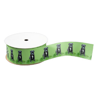 Puppy dog on green background grosgrain ribbon