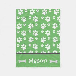 Puppy Dog Paw Print Blanket Add Doggie Name