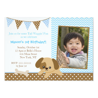 Puppy Dog Photo Birthday Invitations for boys