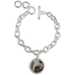Puppy dog photo silver bracelet