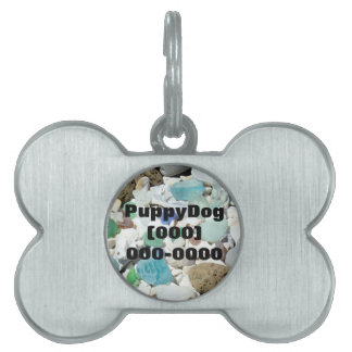 Puppy Dog Tags ID Pets Cats Blue Sea Glass pets Pet Name Tags