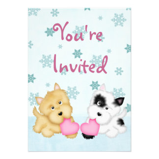 Puppy Dog Valentine s Day Birthday Invite Girls