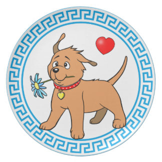 Puppy Dog with Flower - Plate
