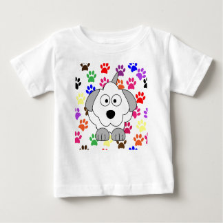 Puppy Dog with Multi=Color Paw Prints T-shirt