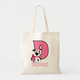 Puppy Dog with Pink Girl's Monogram D Tote Bag