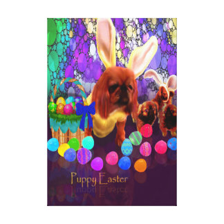 Puppy Easter Dog Greeting Painting Canvas Print