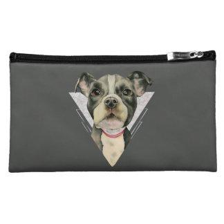 """Puppy Eyes"" Pit Bull Dog Watercolor Painting 2 Makeup Bag"