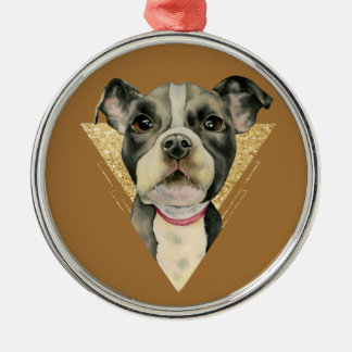 """""""Puppy Eyes"""" Pit Bull Dog Watercolor Painting 3 Christmas Ornament"""