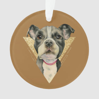 """""""Puppy Eyes"""" Pit Bull Dog Watercolor Painting 3 Ornament"""