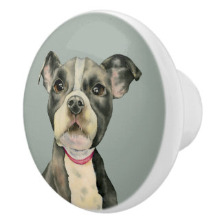 """""""Puppy Eyes"""" Pit Bull Dog Watercolor Painting Ceramic Knob"""
