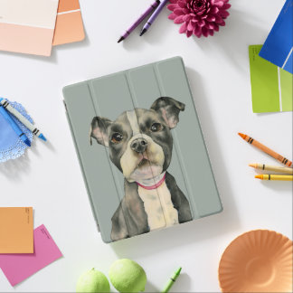 """Puppy Eyes"" Pit Bull Dog Watercolor Painting iPad Cover"