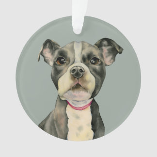 """Puppy Eyes"" Pit Bull Dog Watercolor Painting Ornament"