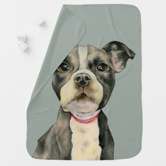 Puppy Eyes Watercolor Painting Baby Blanket