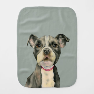Puppy Eyes Watercolor Painting Burp Cloth