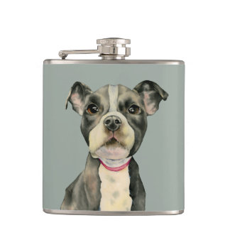 Puppy Eyes Watercolor Painting Hip Flask