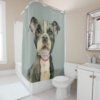 Puppy Eyes Watercolor Painting Shower Curtain