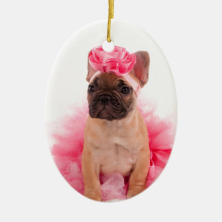 Puppy french bulldog disguised christmas ornament