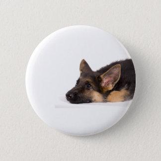 puppy german sheperd 6 cm round badge