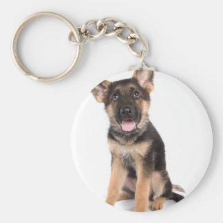 puppy German shepherd Basic Round Button Key Ring