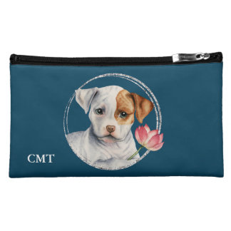 Puppy Holding Lotus Flower | Add Your Initials Cosmetic Bag